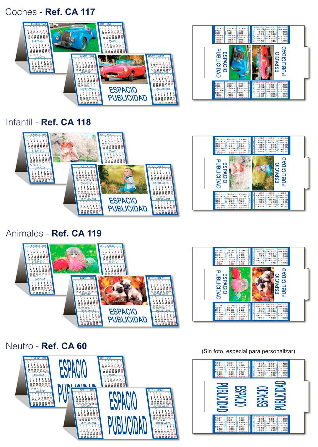Imágenes estándar para calendarios